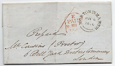 1840 entire letter from Morton in The Marsh to london with fine clear pmk's.