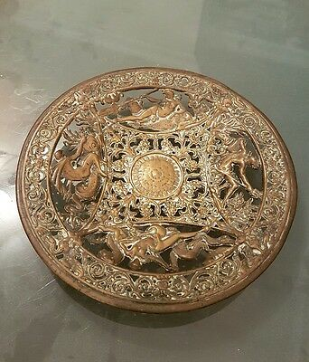 vintage brass bowl/plate mythology design