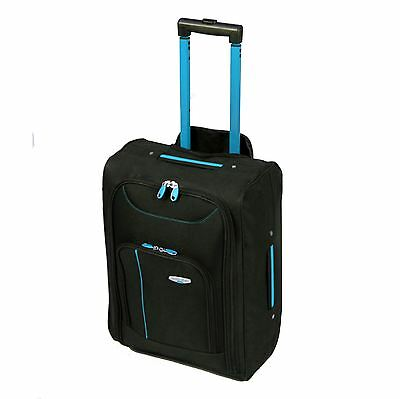 Cabin Approved Wheeled Travel Hand Luggage Trolley Holdall Bag Suitecase Black