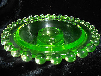Green Vaseline glass candlewick Candle bowl candlestick holder uranium fairy art