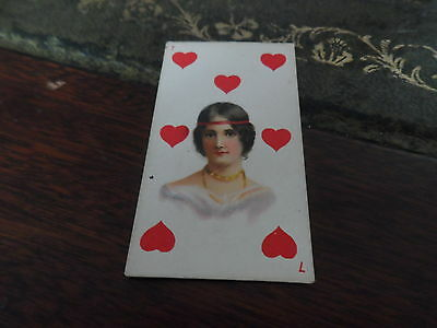 American Tobacco ~ Beauties ~ Playing Card ~ 7 Hearts (Blue Back)