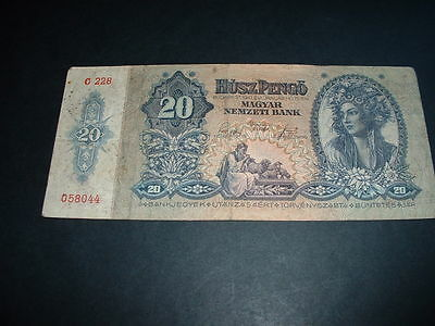 Ww11  Old Vintage  Banknote Hungary 20  Pengo  1941  (044