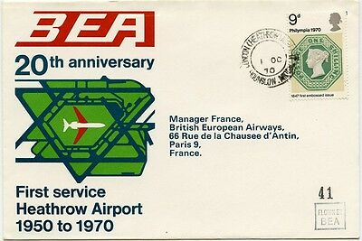 GB airmail. 20th anniv. of first BEA service from Heathrow flight cover 1970