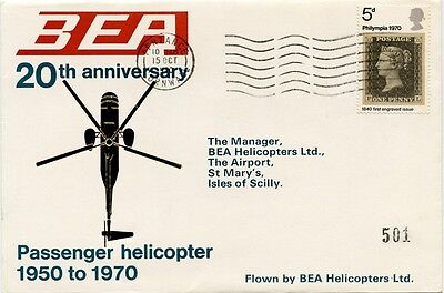 GB airmail 20 years BEA helicopter services to Isles of Scilly flight cover 1970