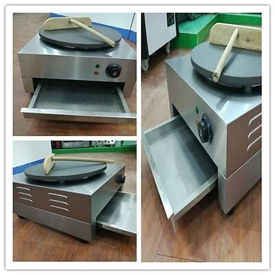3kW Commercial Electric Crepe Maker Machine 490mm Free Tray Non-Stick Surface UK