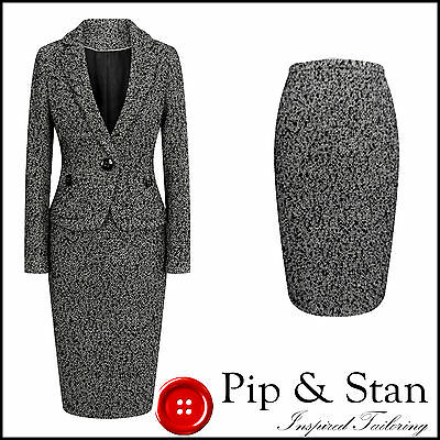 M&s Pencil Skirt Suit Size Uk10 Us6 Womens Black White 50S Vintage Inspired