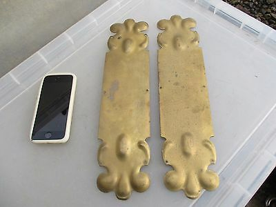 Victorian Brass Finger Plates Push Door Handles Antique Art Nouveau J.W Old 1901