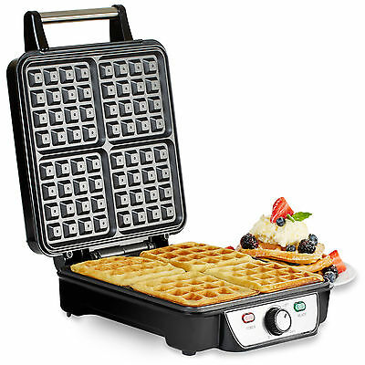 Andrew James 4 Slice Belgian Waffle Maker Iron Machine In Stainless Steel 1100W