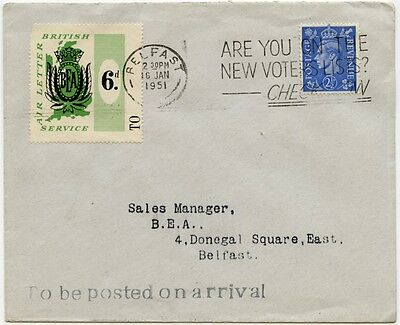 GB Ireland airmail BEA letter service First flight cover Belfast-London 1951