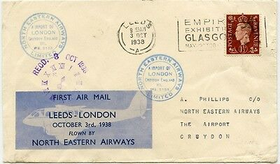 GB airmail North Eastern Airways first flight cover Leeds-London 1938