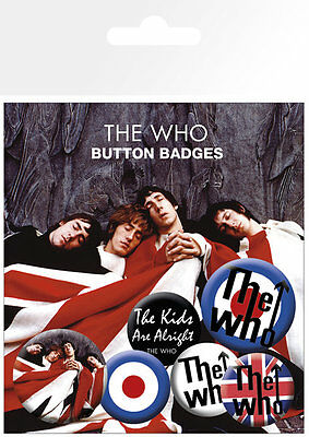 THE WHO LOGOS BUTTON BADGES (6) NEW CARDED BAGGED Official