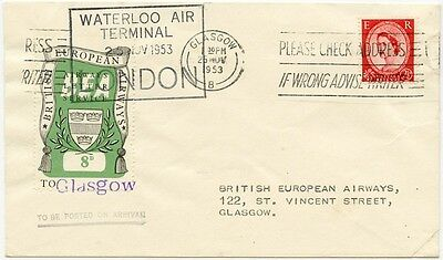 GB airmail. BEA air letter service. First flight cover London-Glasgow 1953