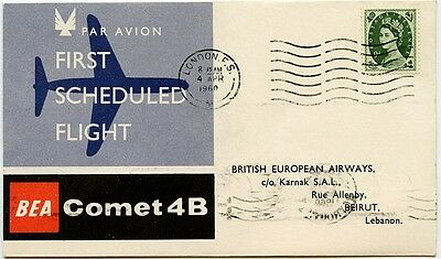 GB Lebanon airmail. BEA first flight cover Comet 4B London-Beirut 1960