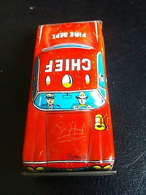 Vintage Fire Chief Tin Toy Car No.19 Made in Japan Works needs wheel