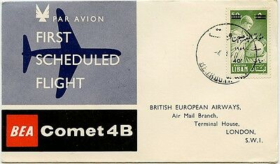 Lebanon GB airmail. BEA first flight cover Comet 4B Beirut-London 1960