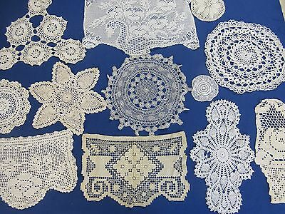 Mixed Lot  Of 12  Assorted Vintage  Crochet Doilies
