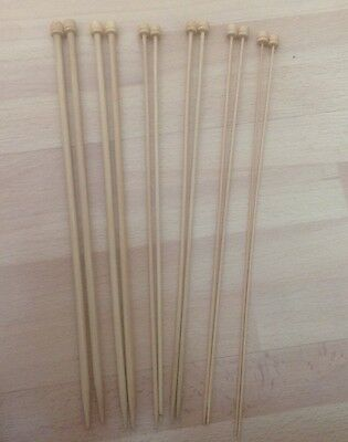 Bamboo - Six Assorted Pairs - Bamboo Needles - 6.5 / 6/3.5/ 3.7/ 2.5/ 2. - Vg