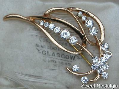 Pretty Modern White Diamante Gold Plated Stylised Flower Brooch