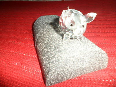 swarvoski silver tailed crystal pig retired