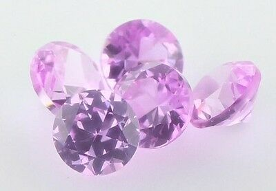 SET OF 5 PIECES OF 2mm ROUND-FACET HOT-PINK SAPPHIRE GEMSTONES £1 NR!