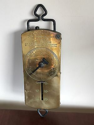 Vintage Brass Salter No 60 Scales Weighs 20 Lbs Hanging