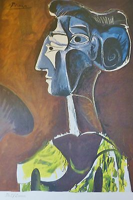 """PABLO PICASSO """" Big Profile """" plate signed HAND NUMBERED LITHOGRAPH gouache"""