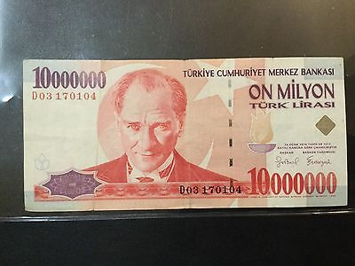 1999 Turkey Paper Money - 10,000,000 Lira Banknote !