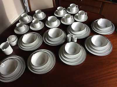 53 Piece Thomas Fine China Dinner Service White with Silver Band