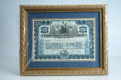 (E) Marconi Wireless Telegraphy Framed & Matted Stock Certificate Scripophily