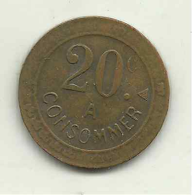 France, consommer token, 20 cents, undated, c1910