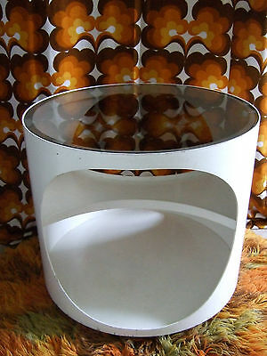 Iconic Vintage Retro 1960s 70s White Ply Round Glass Top Occasional Coffee Table