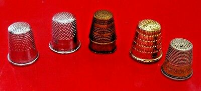 Collectible Vintage Metal Thimbles...lot Of 5 From An Estate