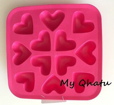 Ikea Silicone Flexible Rubber Heart shape Ice Cube Tray Mold Pink NEW!!
