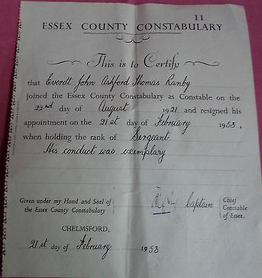 Essex County Constabulary Police Certificate 1953 sgt DANBY and refferences