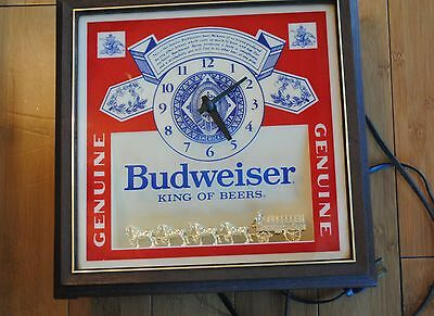 Vintage Budweiser Clock King Of Beers Working Clock And Lights Circa 1980's