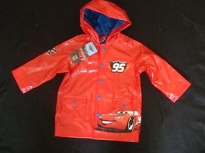 """DISNEY CARS """"LIGHTNING McQUEEN HOODED RAIN JACKET NWTS FULLY  LINED SO CUTE"""