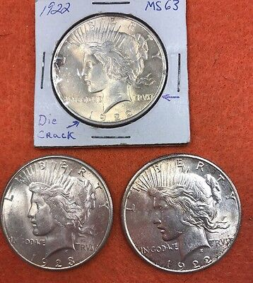 Lot of 3 Peace Silver Dollars (1922,1923)