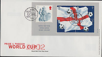 """2002. """"WORLD CUP"""" MINIATURE SHEET with SPECIAL POSTMARK. GREAT FIRST DAY COVER."""