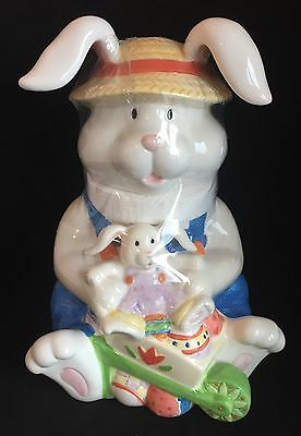 Easter Bunny In  Blue Overalls Pushing A Wheelbarrow Of Eggs Ceramic Cookie Jar