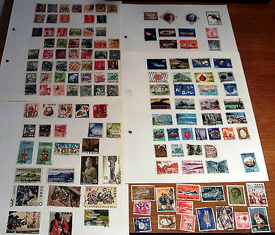 130+ Japan Stamps On Album Pages, Good Selection Of Issues.