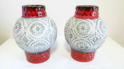 Vintage West Germany Pottery Bay 62/17 Keramik 60/70's Red/White Pair of Vases