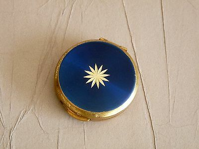 Vintage Stratton Pill Case - Blue and Gold Tone