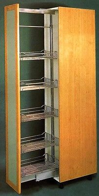 chrome plated tall kitchen pull out pantry with 6 baskets