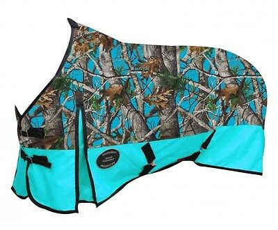 "Showman TEAL 78"" Waterproof Turnout Horse Sheet w/ REAL OAK CAMOUFLAGE! NEW!!"