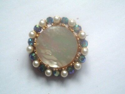 "1940s MOTHER of PEARL & BLUE LUSTRE RHINESTONE BROOCH with FAUX PEARL 1"" (2.5cm)"