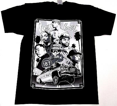 WEST COAST RAPPERS T-shirt Urban Hip Hop Rap Tee Adult M-4XL Black New