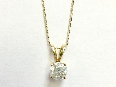 "14k Solid Yellow Gold Solitaire .25 Carat Diamond Pendant w/18"" Chain"