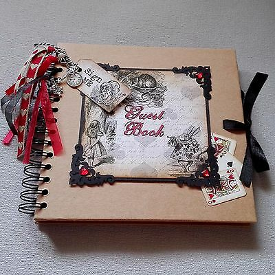 Alice in Wonderland Guest Book Vintage Theme Key & Clock Charms Party/ Wedding