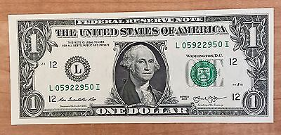 $1 One Dollar Bill with Radar Serial Number and Star Note Uncirculated