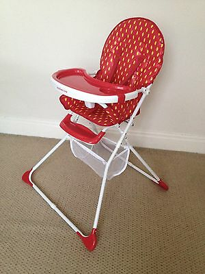 Mothercare Strawberry Baby/Toddlers Folding Highchair, with 2 Trays & Basket Swa